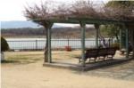 昆陽池公園ランニングコース途中のベンチの写真
